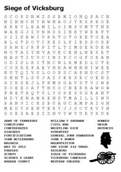 Siege of Vicksburg Word Search