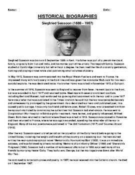 Siegfried Sassoon Biography Article and (3) Assignments