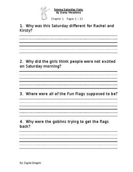 Sienna Saturday Fairy Reading Comprehension Questions