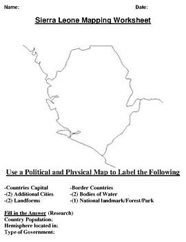 Sierra Leone Mapping Worksheet w/Word Search
