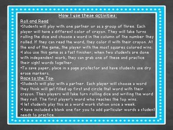 Sight Word Dice Games (Pre-Primer)