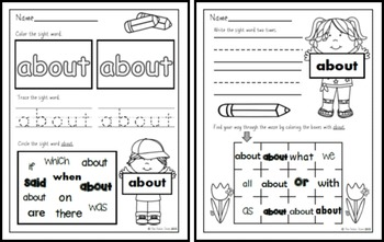 Sight Word Practice 6:  will, up, other, about, out, many, then, them, these, so
