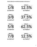 Sight Fraction, Decimal, Percent Flash Cards