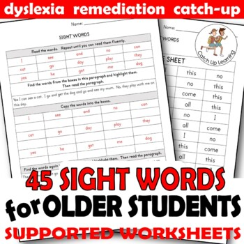 Sight High Frequency Words REMEDIATION INTERVENTION Older Children Students