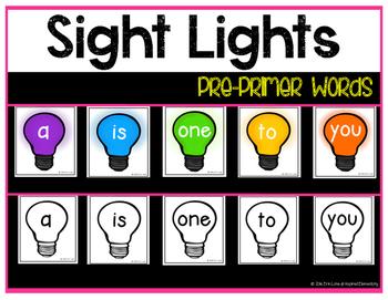 Sight Lights - Pre-Primer Words