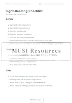 Sight Reading Checklist