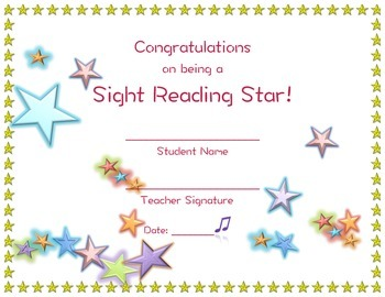 Sight Reading STAR Certificate - Band , Orchestra, Chorus, Music class!