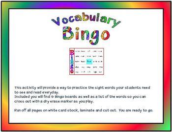 Sight Vocabulary Bingo