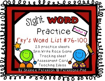 Sight WORD Practice Packet 4 {Fry's Word List 75-100}