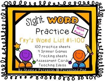 Sight WORD Practice Packet MEGA BUNDLE {Fry's Word List 1-100}