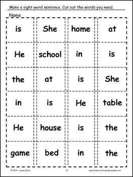 Sight Word Sentence Sets #3