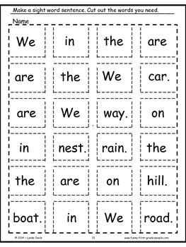 Sight Word Sentence Sets #5