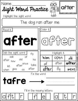Sight Word Practice (1st Grade)