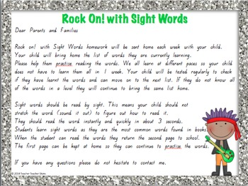 Sight Word 1st Grade Homework Lists Rock On with Sight Words K-2