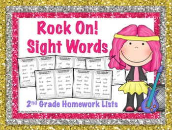 Sight Word 2nd Grade Homework Lists Rock On with Sight Words Grades 1-3