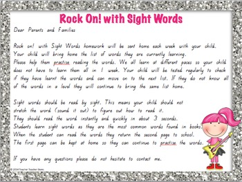 Sight Word 3rd Grade Homework Lists Rock On with Sight Words Grades 1-3