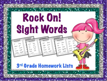 Sight Word 3rd Grade Homework Lists Rock On with Sight Wor