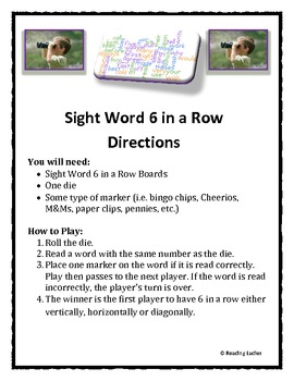 Sight Word 6 in a Row Game (2nd Grade Version -Dolch Sight Words List)