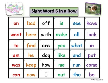 Sight Word 6 in a Row Game Custom Board #2  for Heather