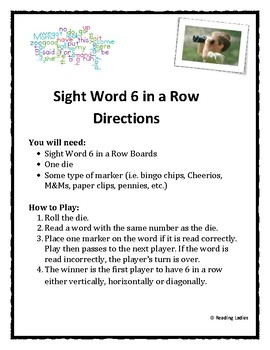 Sight Word 6 in a Row Game Custom Board for Heather