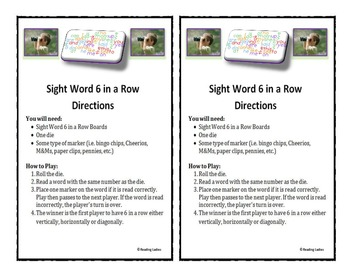 Sight Word 6 in a Row Game (Early Sight Words)