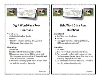 Sight Word 6 in a Row Game (1st & 2nd Grade Words)