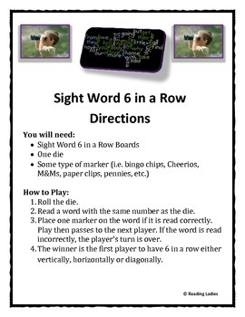 Sight Word 6 in a Row Game (Primary Words)