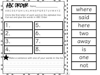 FREE! Sight Word ABC Order Cut and Paste