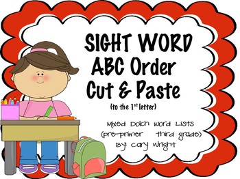 Sight Word ABC Order Cut and Paste