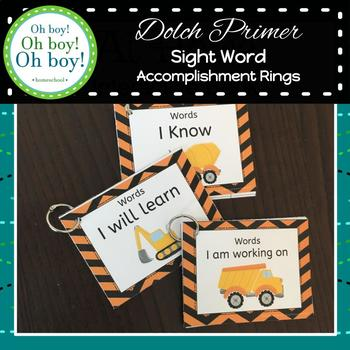 Sight Word Accomplishment Rings - Dolch Primer