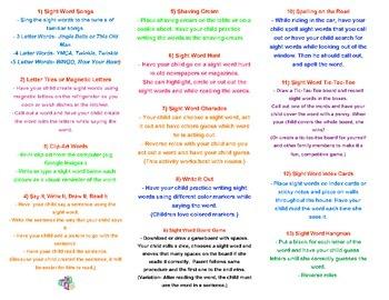 Parent Resource- Sight Word Activites Brochure & More