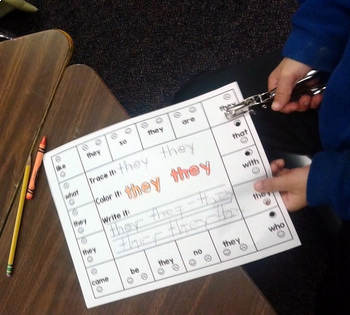 Second Grade Literacy Centers with Hole Punchers {46 words!}