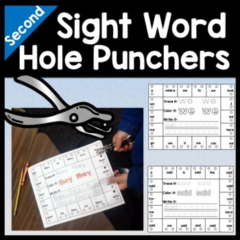 Second Grade Sight Words with Hole Punchers {46 words!}