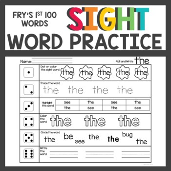 Sight Words Activities Fry's First 100