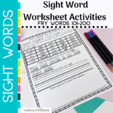 Sight Word Worksheets 2nd 100 Fry Sight Words (101-200)