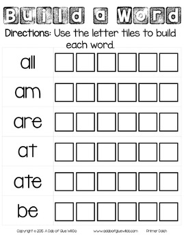 Sight Word Activities, Centers, and Word Wall: Dolch Primer {Primary}
