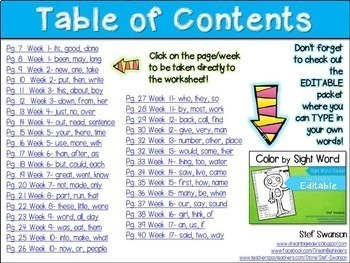 Sight Word Activities! Color by Sight Word {EDITABLE}