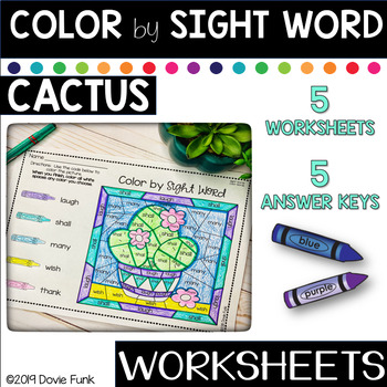 Sight Word Activities Coloring Worksheets Cactus