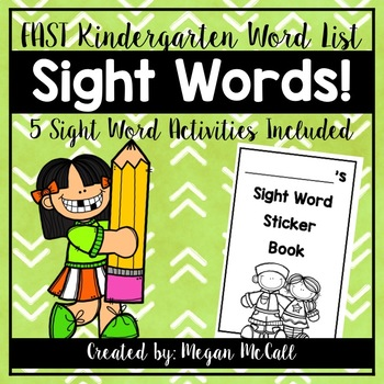 Sight Word Activities (FAST 50 Kindergarten Words) with Editable Template