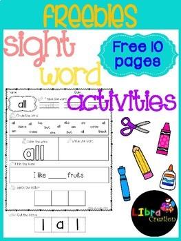 Sight Word Activities Freebies