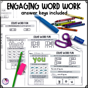 Fry's First 100 Words No Prep Low Ink Sight Word Activities