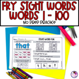 Fry's Sight Word Worksheets 1st Hundred Words NO PREP