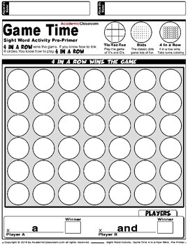 Sight Word Activities: Game Time Link 4 In a Row Sight Words Pre-Primer