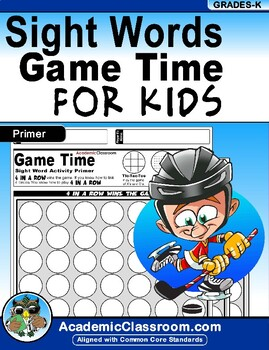 Sight Word Activities: Game Time Link 4 In a Row Sight Words Primer