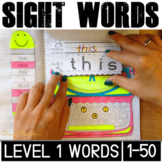 Sight Word: Interactive Notebook BUNDLE (Level 1, words 1-50)