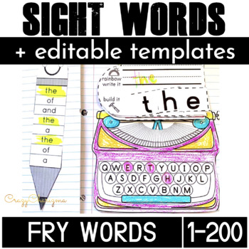 Sight Word Activities: Interactive Notebook BUNDLE (Fry's 1-200)