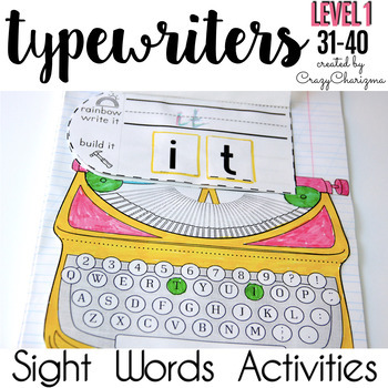 Sight Word Activities: Interactive Notebook (Level 1, words 31-40)