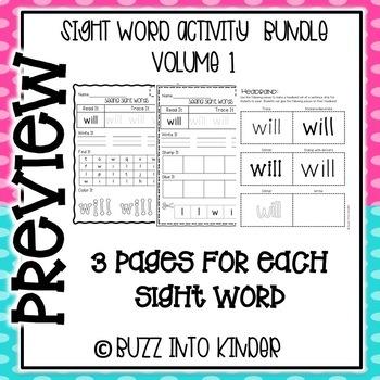 Sight Word Activities MEGA PACKET Volume 1!