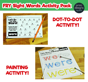 Sight Word Activities Pack • FRY Set ONE - List THREE