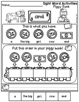 Sight Word Activities Piggy Bank